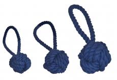 Wurfball mit Schlaufe kornblumenblau, 3 versch. Größen
