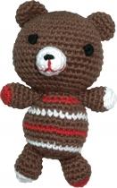 Gehäkelter Teddybär, braun/rot/weiß